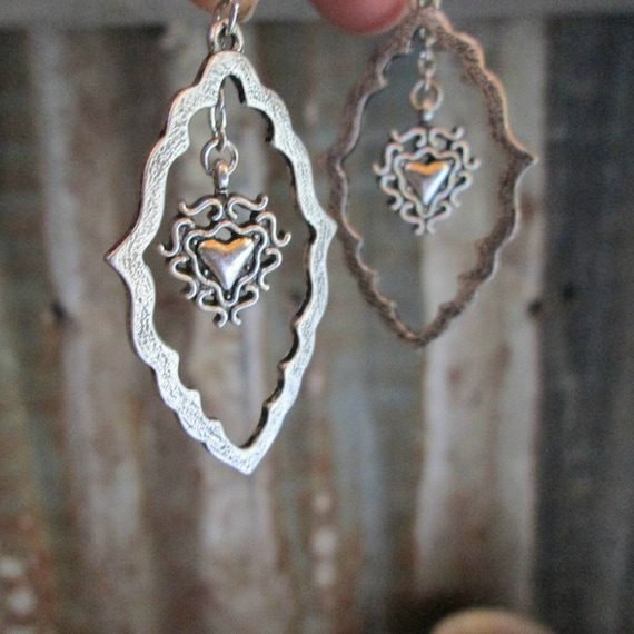 Silver Heart Frame Metal Earrings, Silver Earrings, Heart Earrings, Fram Earrings, Earrings