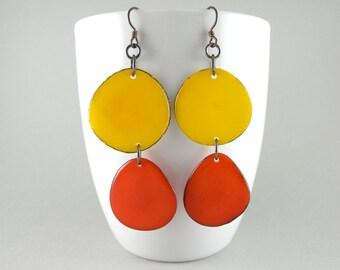Yellow and Orange Tagua Nut Eco Friendly Earrings with Free USA Shipping #taguanut #ecofriendlyjewelry