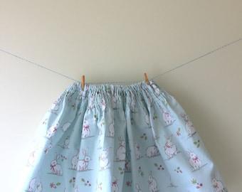 Bunny rabbit skirt, rabbit print, bunny print, rabbit gift, bunny gift, smocking skirt, easter outfit, easter skirt, baby skirt, girls skirt