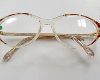 Superline France, Women's Tortoiseshell Cat Eye Glasses, 55/15 130   Made in France, Vintage 80s Frames, Deadstock, NEW OLD Stock