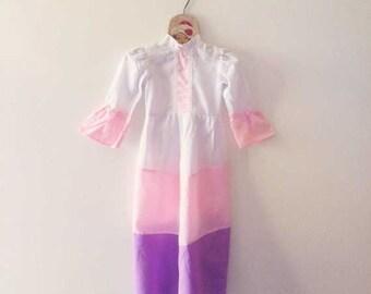 Vintage Indian Chevron Wide Stripe Bordered Gown-Size Newborn