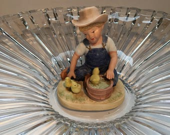 Denim Days By Homco 1985 Home Interiors & Gifts # 1500 Boy with 3 chicks and a bucket