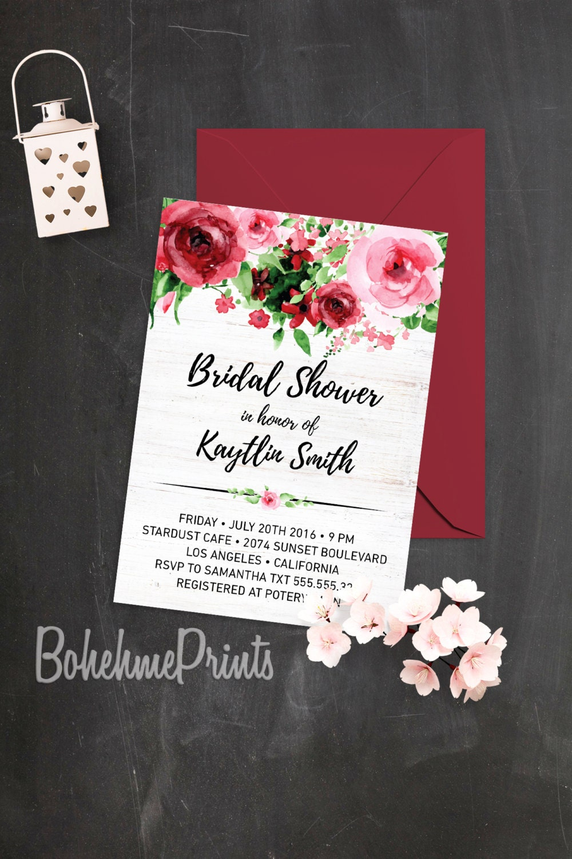 Watercolor Roses Bridal Shower Invitation Modern Bohemian