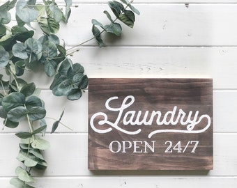 Laundry Wood Stained Sign