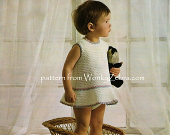 Baby Dress Crochet Pattern PDF unusual crochet dress B112 from WonkyZebra