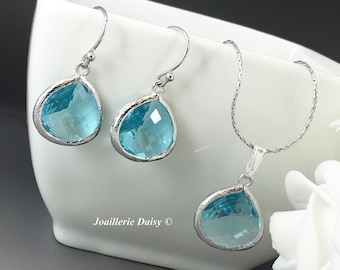 Bridesmaid Earrings Turquoise Jewelry Bridesmaid Necklace Bridesmaid Jewelry Set for Mothers Day Gift for Her Aquamarine Earrings Wedding