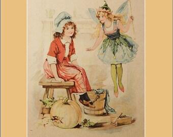 Cinderella and the fairy children's print