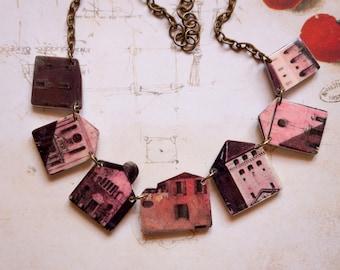 Venice necklace, Little houses necklace, Skyline jewelry, Cityscape necklace, Skyline necklace, House necklace, Gift for architect, Venice