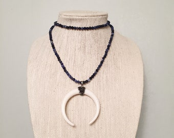 Sodalite Double Horn Double Wrap Necklace