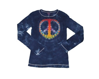 Peace Sign Shirt in Navy with a Tie Dye Rainbow Peace Sign- Girls and Adult Sizes Available