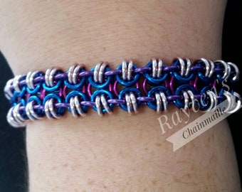 Butterfly Weave Chainmaille Chain Mail Bracelet with hummingbird clasp