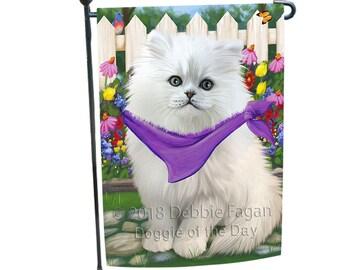 Spring Floral Persian Cat Garden Flag