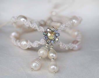 Rhinestone Wedding Anklet, Bridal Pearl Anklet, Boho Wedding Anklet,1 Piece