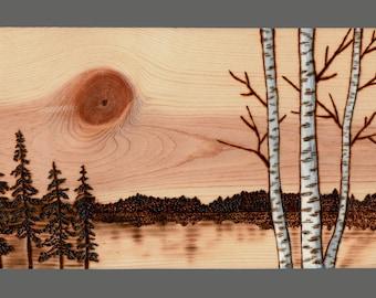 Birch Trees, Woodland Nature, Original Woodburning, Pyrography, Forest, Lakeside, Sunset, Moon, Gift Idea, Housewarming
