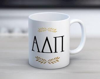 ADPi Alpha Delta Pi Letters Mug Sorority Coffee Mug