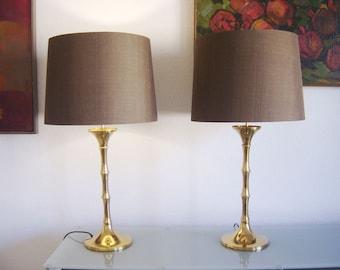 Pair Of Mid Century Modern Ingo Maurer Brass Table Lamps Floor Lights  Bamboo ML1