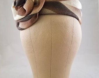 "Original Vintage ""Valerie Mode"" Shades of Brown Pillbox with Fabric Flower"