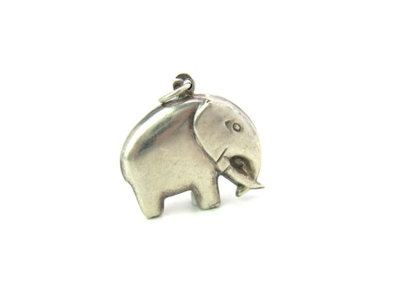 Vintage Sterling Silver Puffy Elephant Charm Pendant. 1970s Good Luck