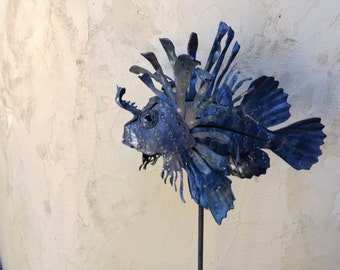 Lion fish metal art sculpture for the garden, fish garden art, fishing metal art, 3D sculpture, One of a kind, made in the USA