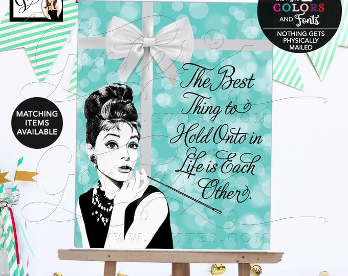 Breakfast at Bridal Shower Decorations, Audrey Hepburn Quote Poster, Signs, Decor, Audrey Hepburn Table Centerpiece, Welcome.