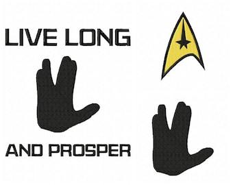 INSTANT DOWNLOAD.3 for 1 Star Trek inspired embroidery designs  Spock. Vulcan. logo. Live long and prosper.  pes,jef sew,hus,,vip3,xxx,dst