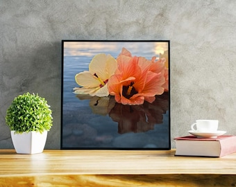 Tropical Hibiscus Together - Photo Print Canvas Wood Acrylic Metal - 4187