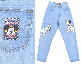 Vintage Jeans Womens Disney Jeans 101 Dalmatians Jeans High Rise Mom Jeans Relaxed Fit Taper Jeans Disney Clothing 90s Vintage Jeans 28 W