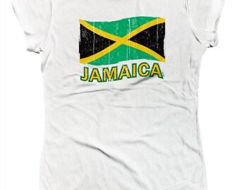 Jamaica Jamaican Distressed Country Flag Kingston Rastafari Island Pride Juniors T-shirt SF_0163