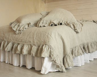 LINEN ruffles DUVET COVER set. Shabby Chic linen ruffled duvet cover  with 2 pillowcases. linen bedding. Softened and washed linen.