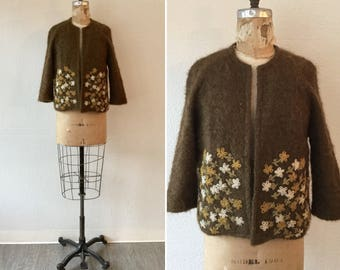 Camelon 60s Cardigan | Vintage brown mohair Cardigan | 1960s brown sweater with embroidered flowers