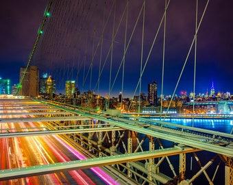 Brooklyn Bridge New York Lights Art Print Wall Decor Image Detail - Unframed Poster