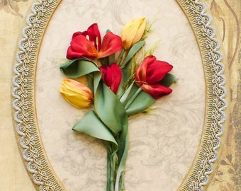 "Silk ribbon embroidery, Embroidery picture ""Red and yellow tulips"", Wall handing art, Gift"