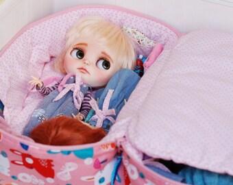 Travel Bag Sleeping Protective For Four Dolls Case Blythe Littlefee Handcrafted Handmade 1/6 Bjd Pink Rabbit Dots
