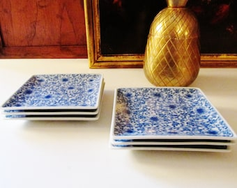 Vintage Six Square Blue and White Coasters, Small Blue Transferware Plates, Palm Beach Decor, Chinoiserie Plates