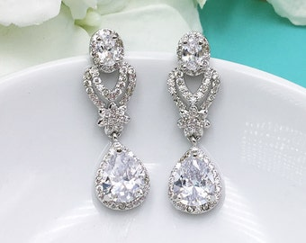 Teardrop Wedding earrings, CZ bridal earrings, oval pear cubic zirconia earrings dangle earring, wedding jewelry bridal Jewelry 489042457