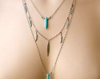 Dainty and Understated Three Strand Turquoise Magnesite Spike Dangling Antiqued Feather Drops Necklace