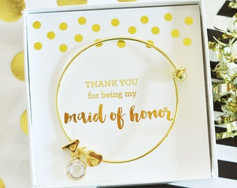 Maid of Honor Gold Monogram Bracelet - Bridesmaids Gifts - Bridal Party Gifts - Maid of Honor - Wedding Favors