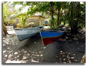 Photo of Boats in Livingston Guatemala. Río Dulce boat, Fishing Boats, Caribbean rowboat, Instant digital download photography at 3oo dpi..