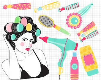 Retro Beauty Clipart - Hairdryer Clipart, Woman Rollers Head Character, Hairdresser clipart, Beauty Blog, Beauty Accessories - MPG105