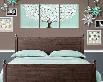 Bedroom Wall Art Canvas, Acrylic Painting on Extra Large Canvas Triptych of Sea Glass Teal Tree - 62x24