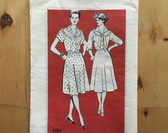 """Vintage multi-size mail order pattern 4084 Dress pattern with yoke and 3/4 sleeve and short sleeves Size 12 1/2 - 18 1/2 Bust 35""""=41"""""""