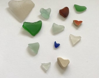 Natural Heart Shaped Sea Glass 12 Piece