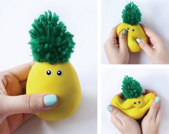 Pineapple, Stress ball, Tropical, Pineapple party, Easter gift, Aloha, Gift for kids, Fruit toy, Luau party decorations, Softie, Funny gift