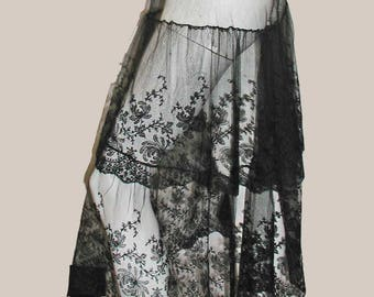 Antique Black Silk Embroidered Asian Spider Mums Pattern Net Lace 2 Tier Flounce Skirt From  Antique Dress or Use For 4.5 Yards of  Lace