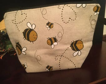 Linen Bees Knitting project bag