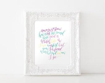 Amazing Grace Art Print, Christian Hymn Printable Art, hand lettered / colorful, verses for the walls, christian, PDF JPEG art print