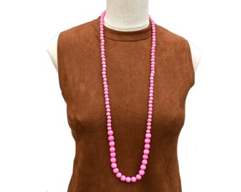 long pink beaded necklace / long bubblegum bead necklace / light pink beaded necklace / wood bead necklace / pink statement necklace