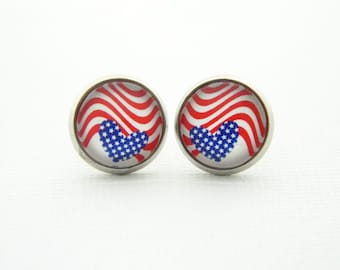 American Flag Earrings - 4th of July Earrings - Independence Day Jewelry - Patriotic Jewelry - USA - Stars and Stripes - Red White Blue