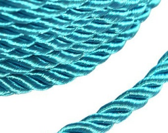 1 m Cotton satin 2 mm turquoise blue cord