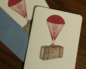 Parachute Suitcase - Gocco Screen-Printed Card 6-Pack